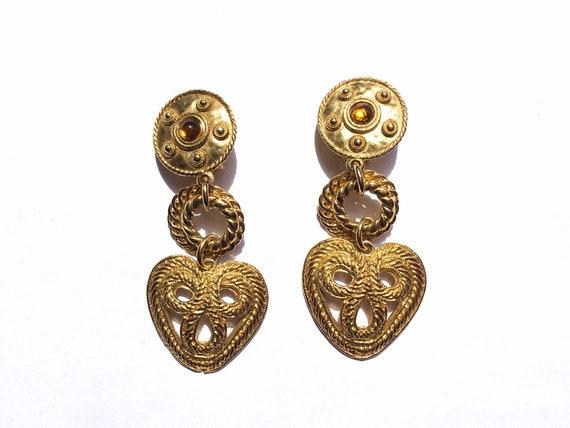 80s earrings, gold heart earrings, gold earrings,