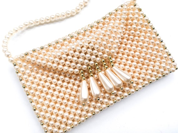 Vintage pearl bag, vintage beaded bag, 60s clutch… - image 5