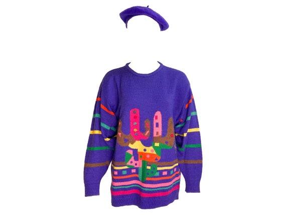 Vintage ugly sweater, wool beret, vintage purple s