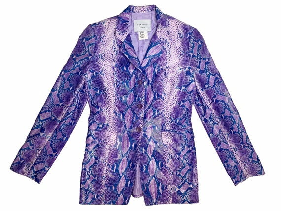 Vintage snakeskin jacket, python blazer, lilac sna