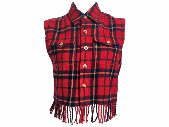 90s waistcoat, vintage wool tartan, tartan fleeces