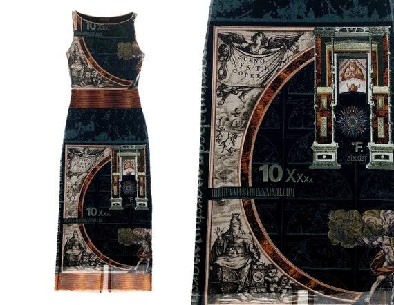 Y2k mesh dress, BATISTE, renaissance print, horosc
