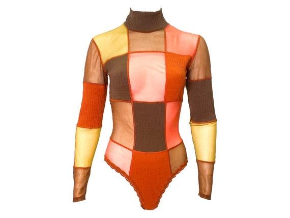 80s mesh bodysuit, vintage bodysuit, high leg, she