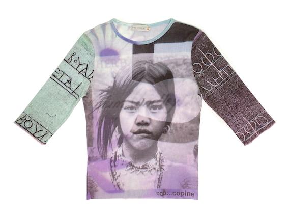 90s Y2k Grey Black Rose Print Mesh Cardigan S