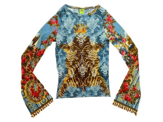 Y2K mesh top, Save the Queen, floral top, tiger ru