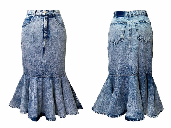 Acid wash denim, 80s denim skirt, acid wash midi s