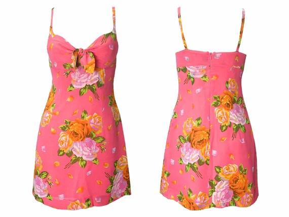 Kenzo floral dress, 90s floral dress, pink slip d… - image 2