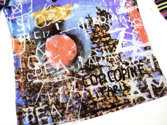 90s mesh top, abstract print top, vintage mesh to… - image 3