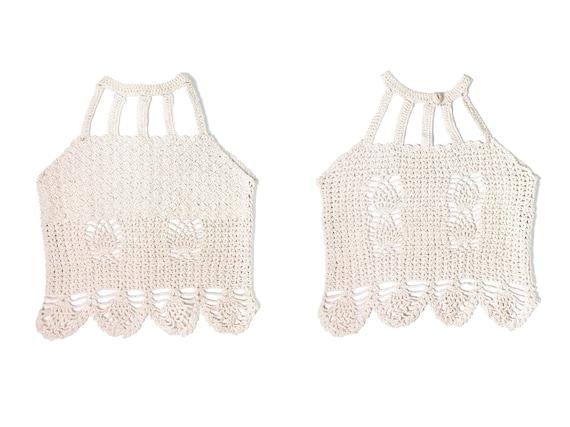 Vintage Crochet top, 70's crochet, crochet crop to