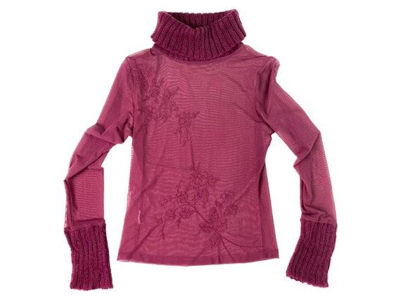 90s mesh top, floral mesh top, 90s turrleneck, ar… - image 2