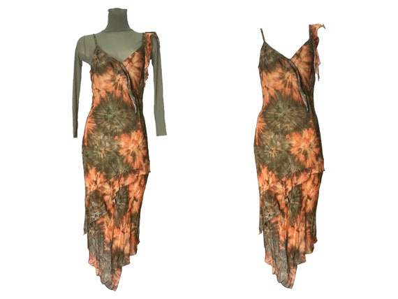 90s dress, tie-dye dress, slip dress, 90s tie-dye… - image 1