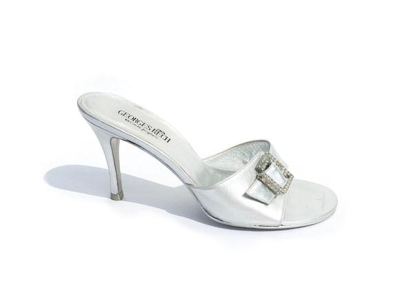 Y2K heels, Georges Rech, rhinestone sandals, y2k s