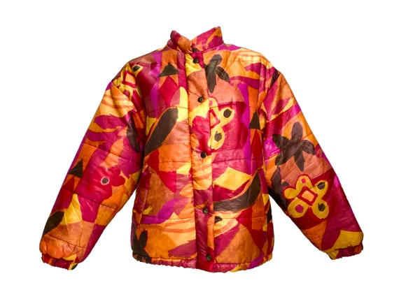 90s puffer jacket, vintage puffer jacket, abstract