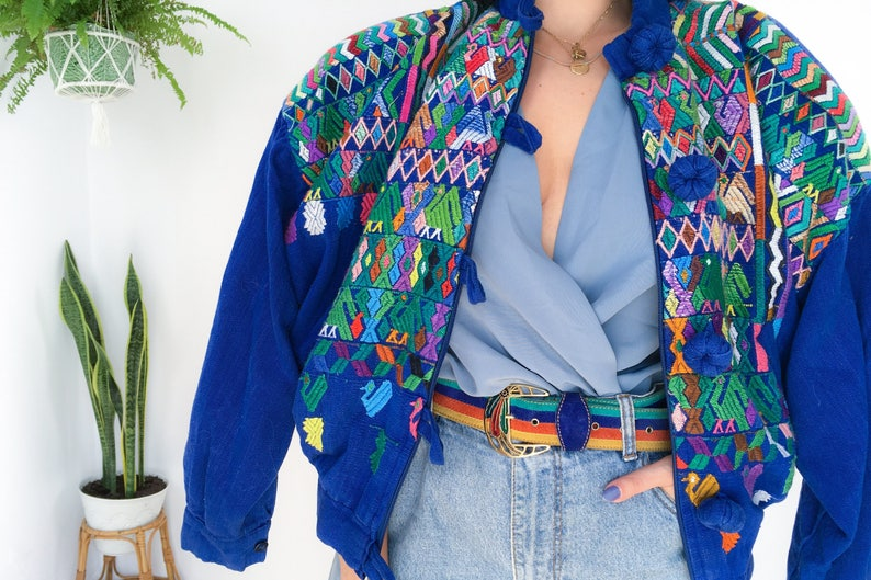 e3e0c4cdb Embroidered jacket, saturated blue, bomber jacket, aztec print, vintage  jacket, colorful print, multicolor, ropa vintage, blue bomber