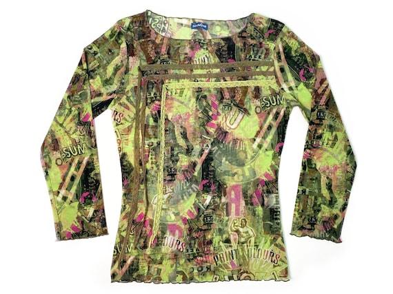 90s mesh top, Abstract mesh top, vintage mesh top,