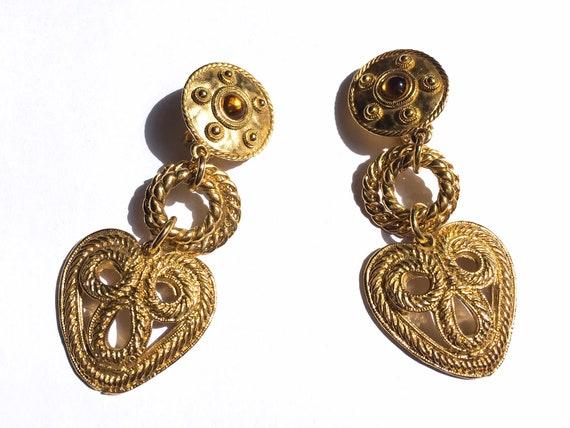 80s earrings, gold heart earrings, gold earrings,… - image 2