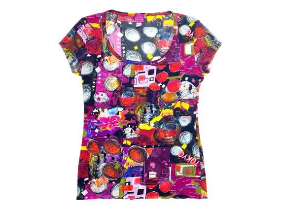 90s mesh top, abstract mesh top, doodle print top,