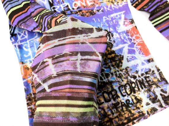 90s mesh top, abstract print top, vintage mesh to… - image 4