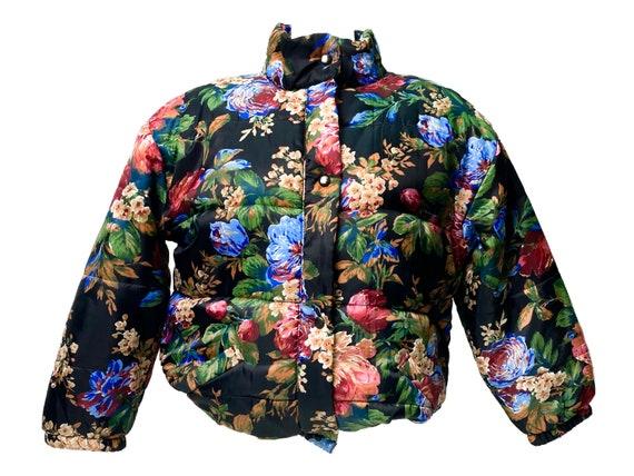 Floral puffer jacket, vintage puffer jacket, flora
