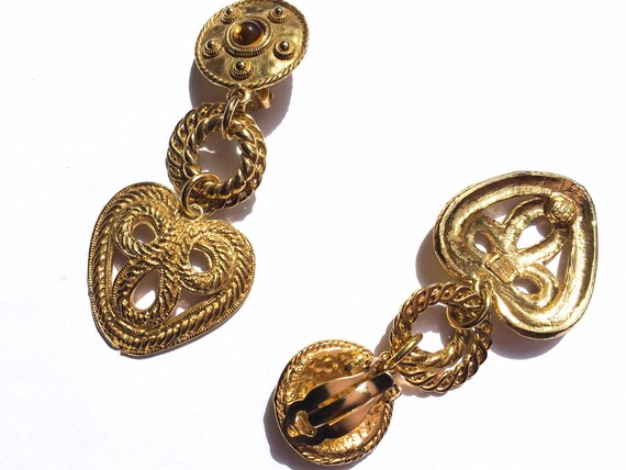 80s earrings, gold heart earrings, gold earrings,… - image 3