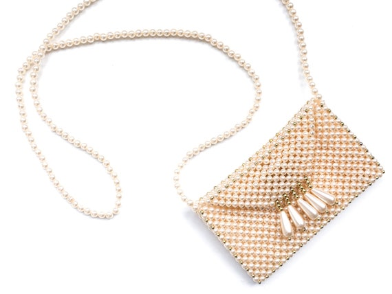 Vintage pearl bag, vintage beaded bag, 60s clutch… - image 1