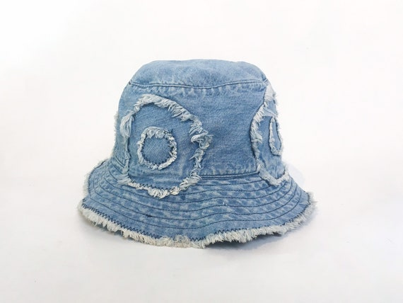 3d1fdd4cab418 Moschino bucket hat denim bucket hat denim flowers frayed