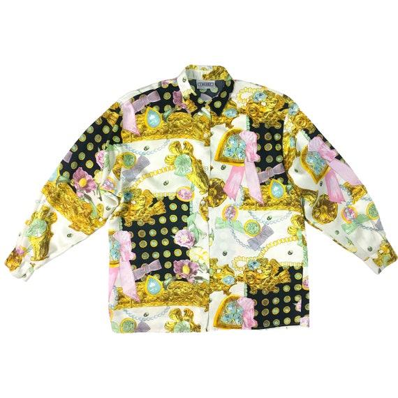 baroque print shirt, vintage shirt, gold chains pr