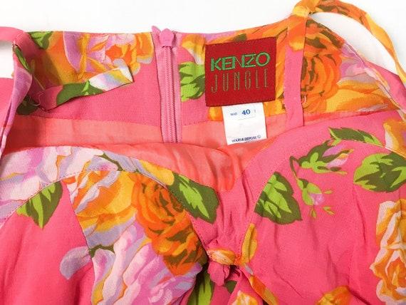Kenzo floral dress, 90s floral dress, pink slip d… - image 5