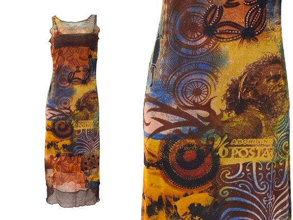 90s dress, 90s mesh dress, 90s clothing, Tribal ta