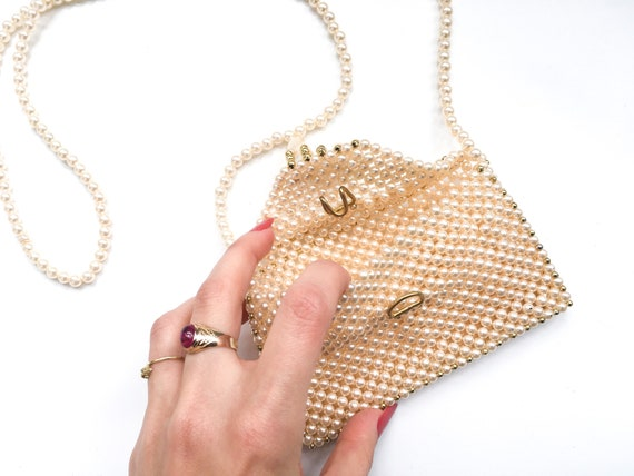 Vintage pearl bag, vintage beaded bag, 60s clutch… - image 4