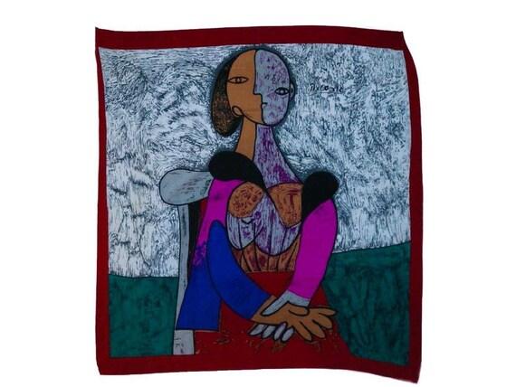 Vintage scarf, picasso vintage scarf, silk scarf,