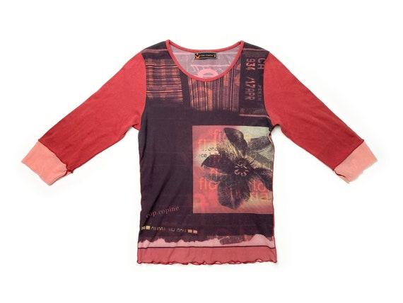 90s mesh top, vintage mesh top, floral mesh top, a