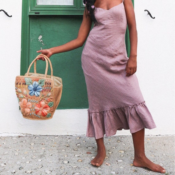 Vintage Basket bag, woven tote, rattan tote, 70s b