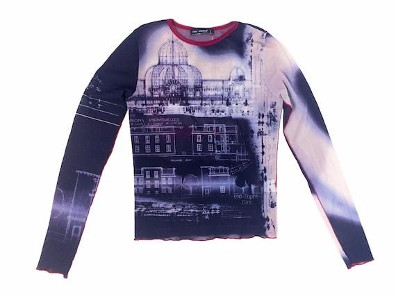 90s mesh top, Louvre theme top, vintage mesh top,