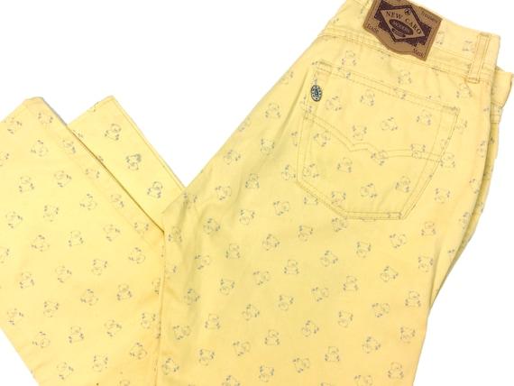 Vintage jeans, Teddy bear print, 90s clothing, yel