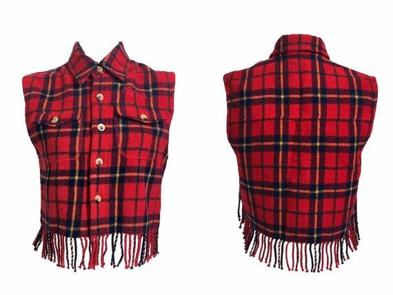 90s waistcoat, vintage wool tartan, tartan fleece… - image 2