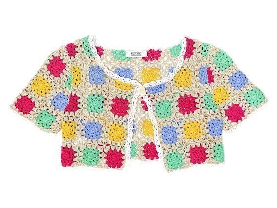 Moschino Crochet, crochet cardigan, vintage bolero