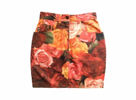 Moschino jeans skirt, moschino floral skirt, mosch