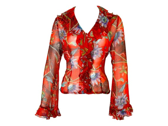 Kenzo mesh, 90s sheer blouse, kenzo ruffled blouse