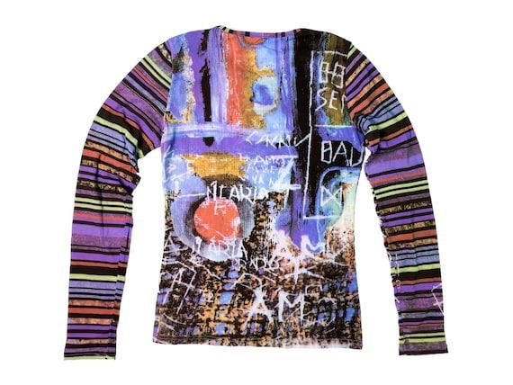 90s mesh top, abstract print top, vintage mesh to… - image 2