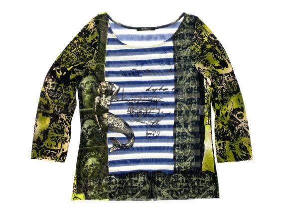 Y2k mesh top, marine stripes, vintage mesh top, st