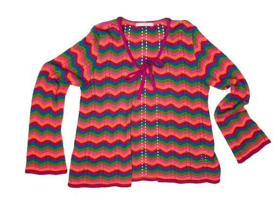 Crochet cardigan, 90s clothing, vintage cardigan,