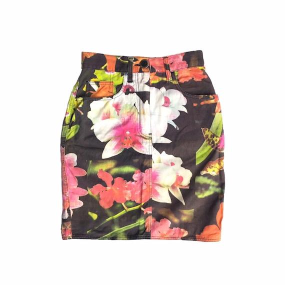 Moschino skirt jeans, moschino floral skirt, mosch