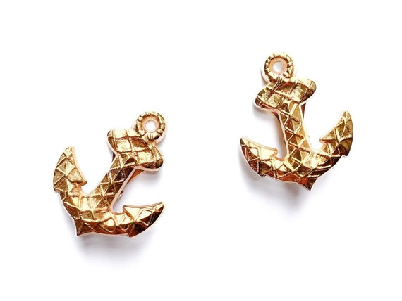 ROCHAS earrings, Anchor shape earrings, 90s earrin