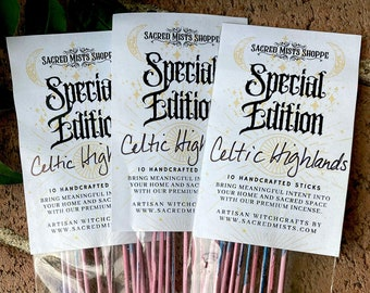 Celtic Highlands Incense Sticks Scottish Heather & Spear Thistle Handmade for Meditation, Ritual, Peace, Harmony, Sacred Space, Protection