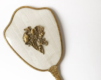 ornate hand mirror. Vintage Mirror, Hand Gilded Antique Vanity  Gold Ornate Wedding Gift, Bridal Filigree Ornate Hand Mirror R