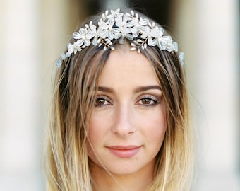 Bridal Crown, Flower Crown, Wedding Headpiece, Wedding Crown, Bridal Headpiece, Flower Headpiece, Floral Crown, Hairpiece-Style 309- Beverly