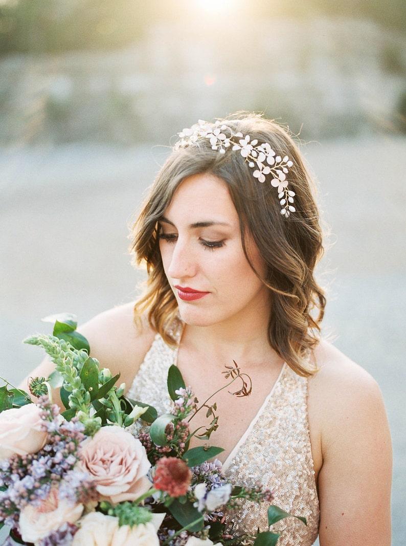 Braut Kopfschmuck Blumenkranz Hochzeit Kopfschmuck Hochzeit Haarrebe Kopfschmuck Blume Halo Perle Frisur Rebe 302 Arwen