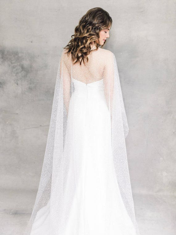 Dotted Cape Bridal Cape Wedding Cape Wedding Dress Cover Etsy
