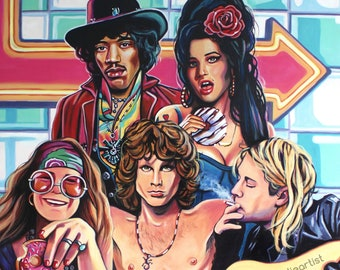 The 27 Club (Diner) - Jimi Hendrix, Janis Joplin, Amy Winehouse, Jim Morrison, Kurt Cobain - Print - Free Shipping